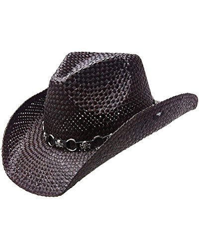 Peter Grimm Ltd Men's Vado Skulls And Rings Hat Band Straw Cowboy Black One Size