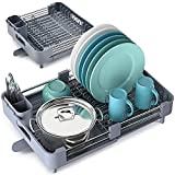 TOOLF Extendable Dish Rack, Dual Part Dish Drainers with Non-Scratch and Movable Cutlery Drainer and Drainage Spout, Adjustable Dish Drying Rack for Kitchen, 1 Piece Grey