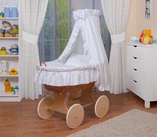 WALDIN Baby Stubenwagen-Set mit Ausstattung,XXL,Bollerwagen,komplett,24 Modelle wählbar,Gestell/Räder natur unbehandelt,Stoffe weiß