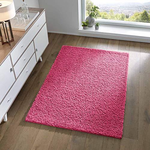 Taracarpet Shaggy Teppich Wohnzimmer Schlafzimmer Kinderzimmer Hochflor Langflor Teppiche modern pink rosa 080x150 cm