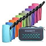 4Monster Asciugamani in microfibra in 10 colori, ad asciugatura rapida, assorbente, ultra leggero, per fitness, sauna, viaggi, sport, yoga