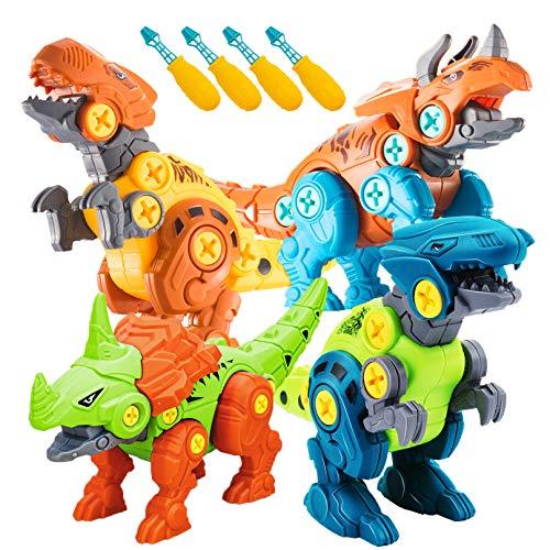 STAY GENT Dinosauri Giocattoli per Ragazzi, 4 Assemblare Confezioni DIY Dinosauro Giocattoli da Costruzione con Cacciaviti STEM Regali di Natale Apprendimento Giochi Regalo per Bambini 3 4 5 6 7 Anni