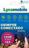 Lycamobile Tarjeta Prepago Multi SIM - Plan Nacional NAVEGA L , Incluye 12 GB de Datos + 200 Minutos en Llamadas , 30 Días
