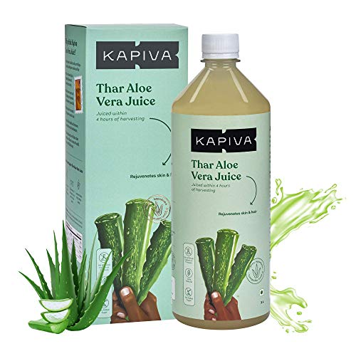 Kapiva Thar Aloe Vera Juice (with Pulp) | Rejuvenates Skin and Hair | Natural Juice made within 4 hours of harvesting | No Added Sugar, 1L