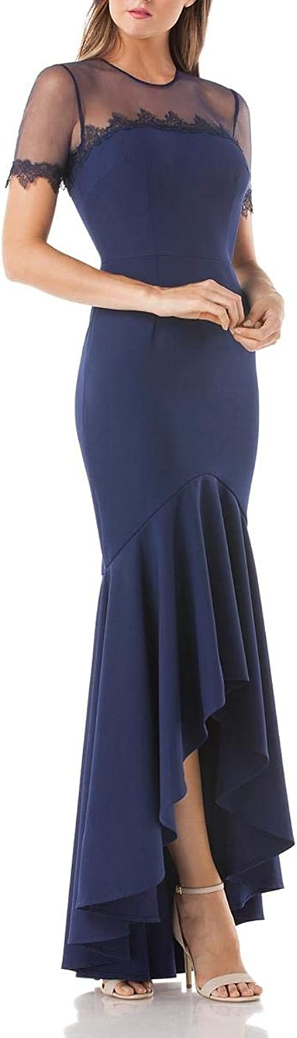 JS Collections Womens Illusion HiLow Evening Dress