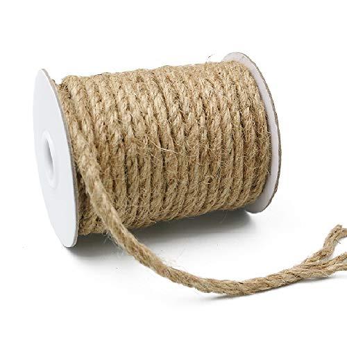 KINGLAKE Cuerda de yute de jardín de 18 m de grosor, cuerda de cáñamo de 6 mm, cuerda gruesa de color marrón para manualidades, embalaje, decoración, jardinería