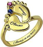 YUOTO Anillos de madre personalizados para mujer, anillos de nombre pesonalizados, pies de bebé grabados personalizados con 2 piedras natales y 2 nombres para regalo de cumpleaños de mamá