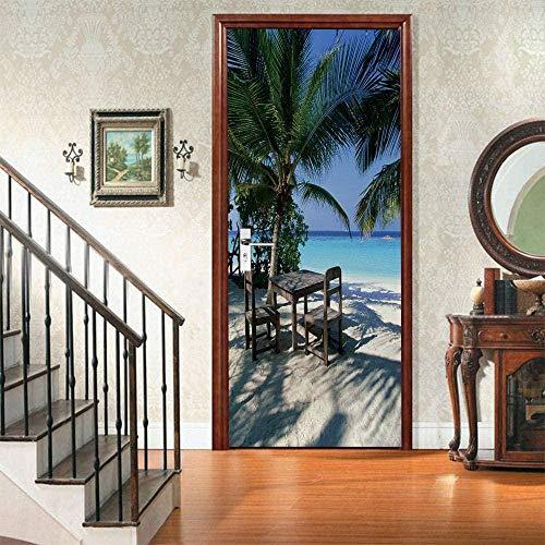 FDASLJ Adesivi Per Porte Adesivi Murali Spiaggia Vista Mare Palme Da Cocco Tavoli E Sedie 77X200CM 2 Adesivi 3D Per Porta Autoadesivi Rimovibili Impermeabili Fai Da Te Per Decorazione Della Casa