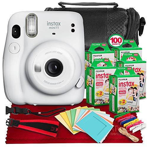 FUJIFILM INSTAX Mini 11 Instant Film Camera (Ice White) + ACCESSORY BUNDLE THAT INCLUDES 5X Fujifilm Instax Mini Twin Film (100 Exposures), Camera Carrying Case, Camera Strap & Funky Film Frames