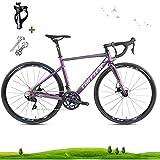 LICHUXIN Outdoor-Bike, Rennrad, Leicht 22-Speed-700C Scheibenbremse Rennrad Fahrrad, Aluminiumlegierung Material Bär 160kg, Geeignet für Erwachsene Männer und Frauen,Discolored Blue,18.8in