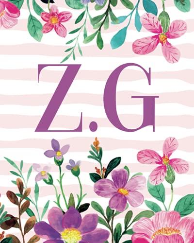Z.G: Monogram Initials Z G Notebook For Women & Girls, Floral Monogram 8 x 10', Monogrammed Journal Gift