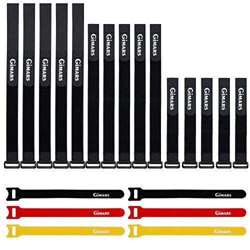 GIMARS [21pcs] Reutilizables Piezas Sujetacables de Velcro Bridas, Ajustables Tiras de Velcro...