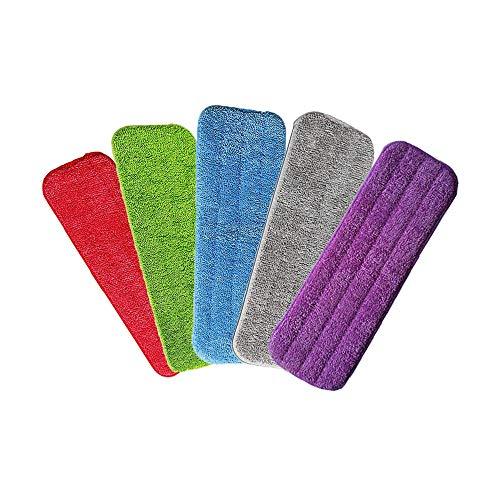 5 Pcs Lavare a Mano Libera Spray Mop, Mop in Microfibra, Mocio Pulente Reveal Si Adatta a Tutti I Mocio Spray & Mocio Reveal Lavabili 42 * 14 cm(Rosso / blu / verde / viola / grigio)