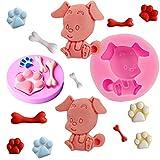 mciskin Moldes de silicona para fondant con diseño de huella de perro y hueso, bonitos moldes para decoración de pasteles, chocolate, azúcar, dulces, hornear, etc. 2 unidades