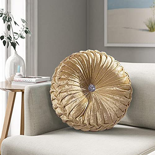Round Cushion Filled Cushion With Glittery Stitched Diamond Reversible Sofa Chair Cushion (Beige, Large)
