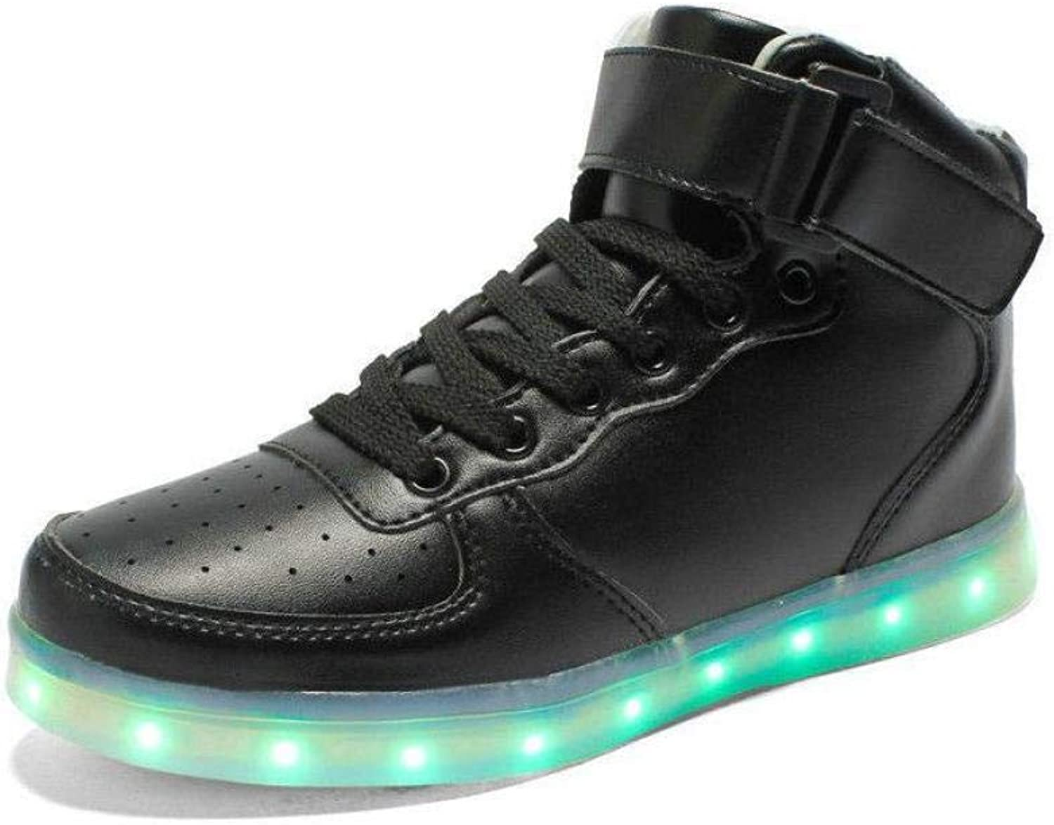 FidgetFidget Women Men LED shoes Night Light Sport Sneaker Black (High Top) EU42=US9=UK8