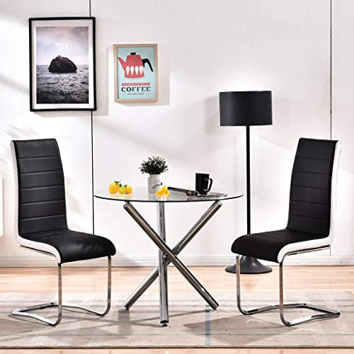Modern Dining Table Chairs Set,Round Glass Dining Table+2 Black Faux Leather High Back Dining Chairs,Kitchen Dining Room Table Set of 2 for Living Room Lounge Office Waiting Room (1 Table + 2 Chairs)