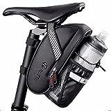 ROTTO Satteltasche mit Flaschenhalter Fahrrad Sattel Tasche Wasserdicht für Rennrad Mountainbike Schwarz