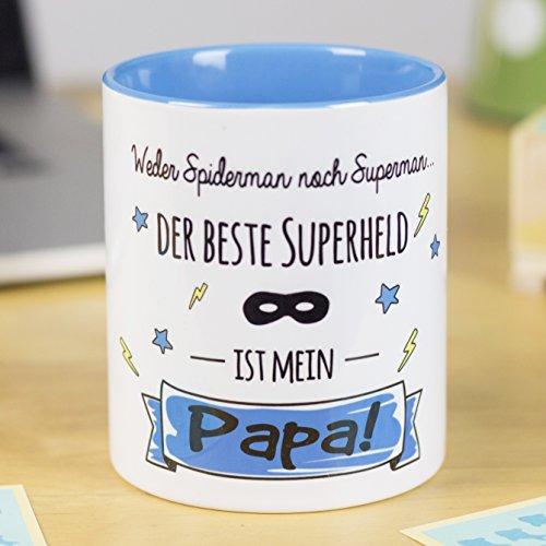 LA MENTE ES MARAVILLOSA Gedankenwelt - Tasse mit lustiger Botschaft (Weder Spiderman noch Superman. der Beste Superheld ist Mein Papa!) Geschenk für Papá