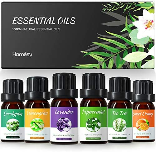 Homasy Essential Oils Set Top 6x10mL Essential Oils Gift Set Aromatherapy Essential Oil for product image