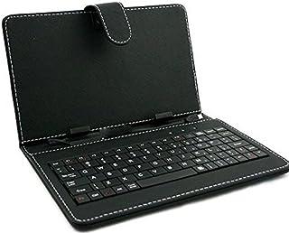 ZAZ microUSB 端子 アンドロイドタブレット用 7インチ専用 タブレット キーボード付ケース スタンド機能付き ※要ホスト機能があるタブレットのみご使用可能 ※充電不要で接続するだけで使用可能! カラー:ブラック