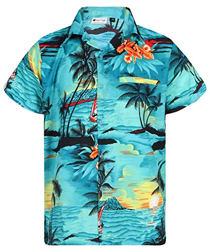 Virgin Crafts Heren Hawaiian Shirt Button Down Korte Mouwen Oranje Casual Mode Shirt