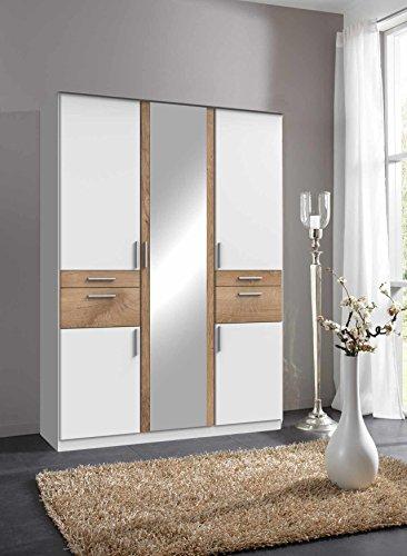 lifestyle4living Kleiderschrank, Weiß, Planken-Eiche, 135 cm | Drehtürenschrank mit 5 Türen, 4 Schubladen, 3 Kleiderstangen, 3 Einlegeböden im modernen Stil
