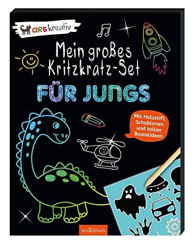Mein großes Kritzkratz-Set - Für Jungs: Mit Holzstift, Schablonen und tollen Bastelideen