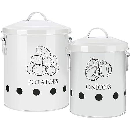 G.a HOMEFAVOR Boîte de Conserve pour Pommes de Terre, Paniers pour Ail Pot à Oignon en Métal, Corbeille de Fruits et Légumes pour Cuisine, Ensemble de 2