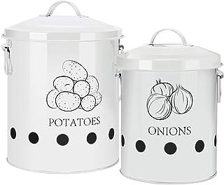 G.a HOMEFAVOR Boîte de Conserve pour Pommes de Terre, Paniers pour Ail Pot à Oignon en Métal, Corbeille de Fruits et Légum...