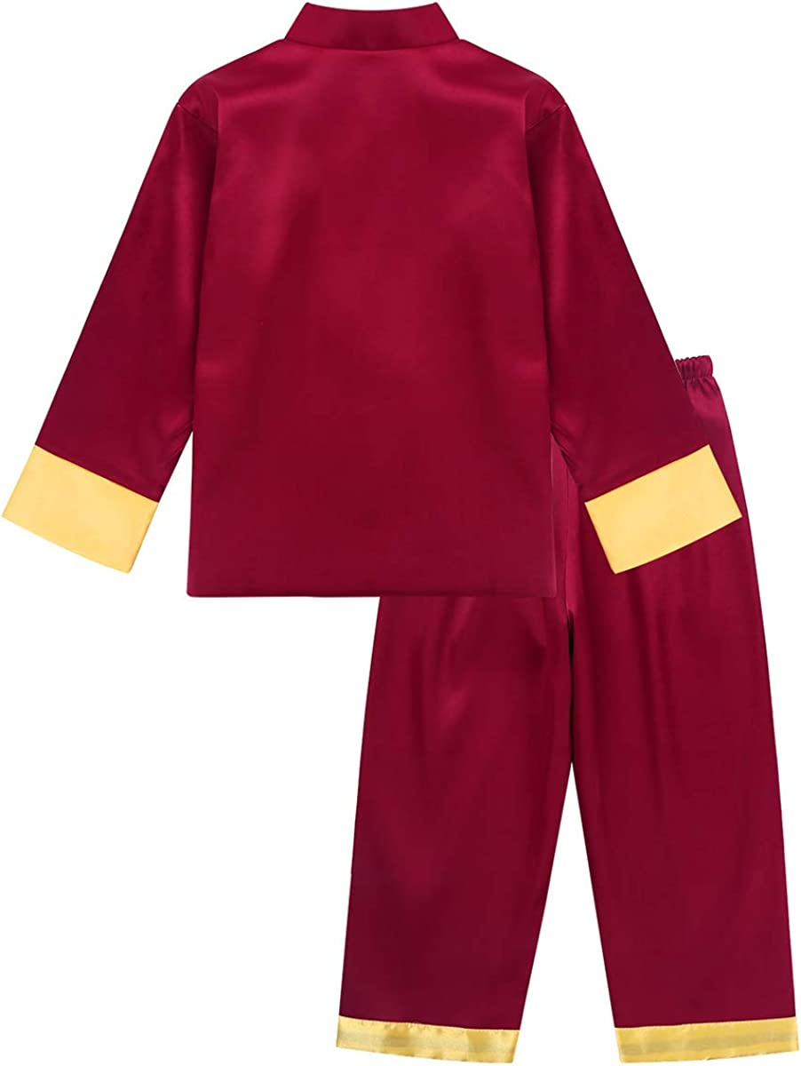 YiZYiF Children Kids Boys Long Sleeve Embroidered Chinese Traditional Kung Fu Outfit Tang Uniform Martial Arts Suits