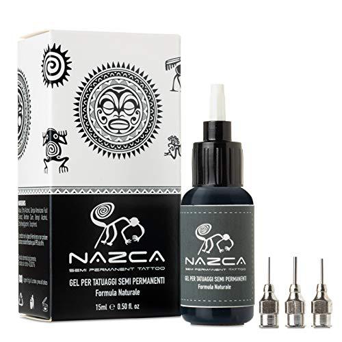 NAZCA– tatuaggi temporanei KIT COMPLETO gel naturale per tattoo colore blu notte/nero-Durata 8-15 giorni–Resistenti all'acqua e al sole-Prodotto italiano testato dermatologicamente-Vegano-15ml