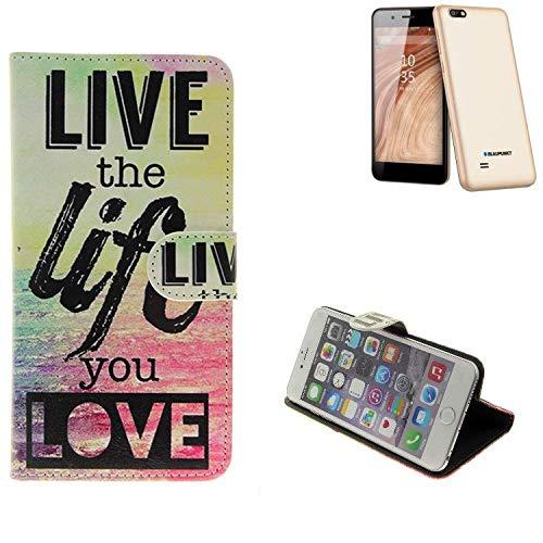 K-S-Trade® Schutzhülle Für Blaupunkt SL 04 Schutz Hülle 360° Wallet Case ''live Life Love'' Schutzhülle Handy Tasche Handyhülle Etui Smartphone Flip Cover Standfunktion (1x)