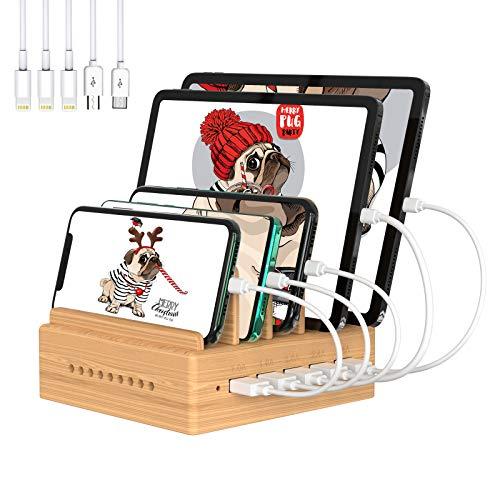 Station de Charge Bambou Chargeur Multiple Organisateur des Câbles 5 Ports USB Multi Charges pour Smartphones Tablettes