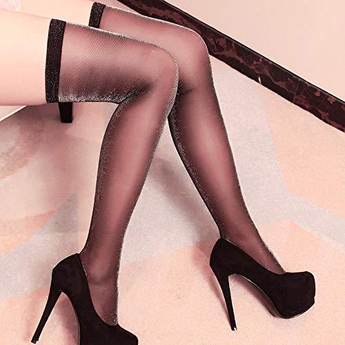 Erotische Damen-Höschen Bekleidung & Schuhe für Modepuppen Lange Röhre hohe Spitze japanische sexy Strümpfe weibliche charmante ultradünne sexy Zehen transparente blinkende Strümpfe-schwarz_eine Größ