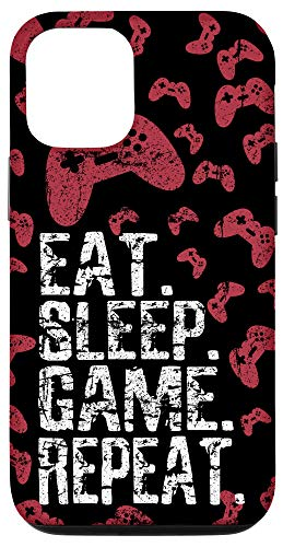 iPhone 12/12 Pro Eat Sleep Game Repeat Funny Gamer Video Game Boys Teens Gift Case