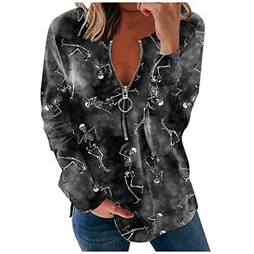 Zldhxyf Sudadera sin capucha para mujer, con cremallera 1/2, cuello en V, para adolescentes y niñas, con estampado de calabaza, de manga larga, Gris oscuro-4., S