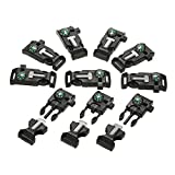 Lixada 10Pcs Emergency Whistle Buckle with Flint Scraper Fire Starter and Compass for Outdoor Camping Hiking Paracord Bracelet