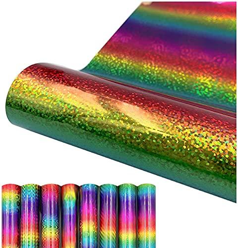 Rollo de vinilo autoadhesivo arco iris, vinilo holográfico para manualidades, diseño de vinilo adhesivo para fundas de teléfono, cubiertas para portátiles, tazas, (12 x 19 pulgadas, B