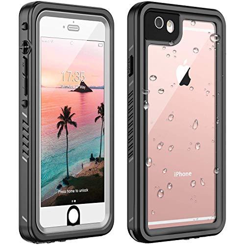 ANTSHARE iPhone 6/6s Waterproof Case iPhone 6/6s case Built in Screen Protector 360°Full Body Protective Shockproof Dirtproof Sandproof IP68 Underwater Waterproof Case for iPhone 6/6S(Black/Clear)