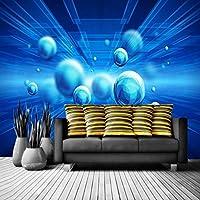 mzznz カスタム3D抽象スペースボールブルーテレビ大背景壁紙壁画-280X200Cm
