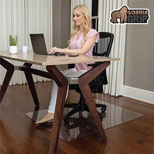Gorilla Grip Premium Polycarbonate Chair Mat for Hard Floor Surfaces, 48x36, Heavy Duty, Easy Glide Transparent Mats for Desk Chairs, Good for Desks, Office and Home, Protects Floors, Clear