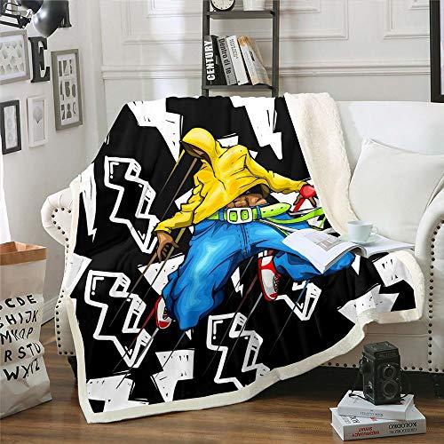 Manta de lana para niños, adolescentes, arte callejero, estilo hippie, manta de felpa de moda, manta de roca, manta de viaje para cualquier habitación, azul amarillo, negro, King de 221 x 241 cm