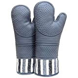 RED LMLDETA Heat Resistant 550 Degree Oven mitt, Silicone Oven Hot Mitts - 1 Pair, Extra Long Professional Baking Oven...