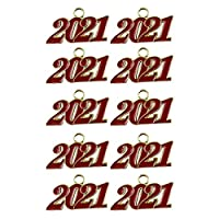 Perfeclan 10個キーホルダーペンダント数字キーリングキーチェーン作りチャーム手作りイヤリングクラフト装飾装飾アクセサリードロップ - 赤