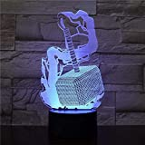 Marteau de Thor 3D veilleuse LED lumière USB tactile télécommande 7 couleurs conversion décoration de la maison lumière enfants noël anniversaire roman cadeau