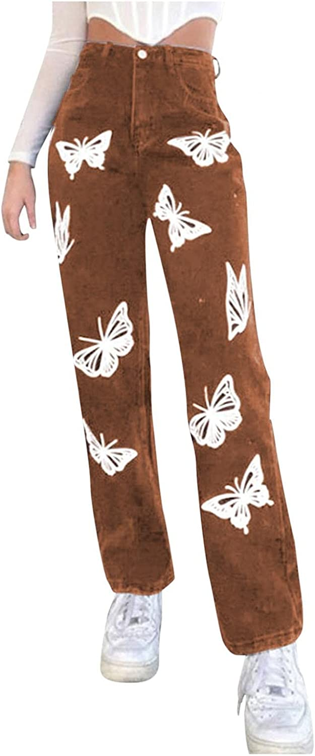 Fudule Y2K Fashion Jeans for Women High Waisted Pant Butterfly Print Wide Leg Denim Jeans Straight Casual Baggy Trousers