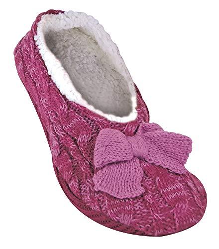 Jennifer Anderton - Mujer zapatillas de graves calcetines cortos invisibles ABS antideslizante/derrape, prevención de caídas (37-39 Eur, 4-6 UK, Raspberry)