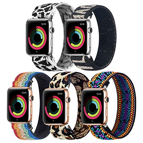 BMBMPT Elastic Watch Band Compatible for Apple Watch Band 38mm 40mm 42mm 44mm Stretchy Loop Strap Scrunchie Elastic Replacement Band for iWatch Series 5,4,3,2,1