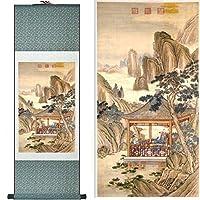 風景画ホームオフィスの装飾中国のスクロール絵画伝統的な中国の風景画印刷された絵画-100cmx30cm_Yellow_package